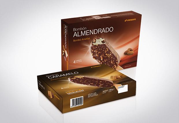 Packaging o envase helado bombon del supermercado CONSUM, diseño Duplo comunicacio grafica