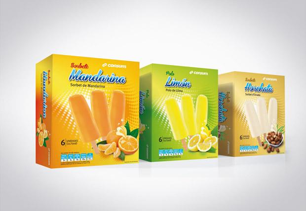 Diseño Packaging Helados Consum Supermercados | DUPLO Comunicación Gráfica | Estudio de diseño gráfico, web y editorial.
