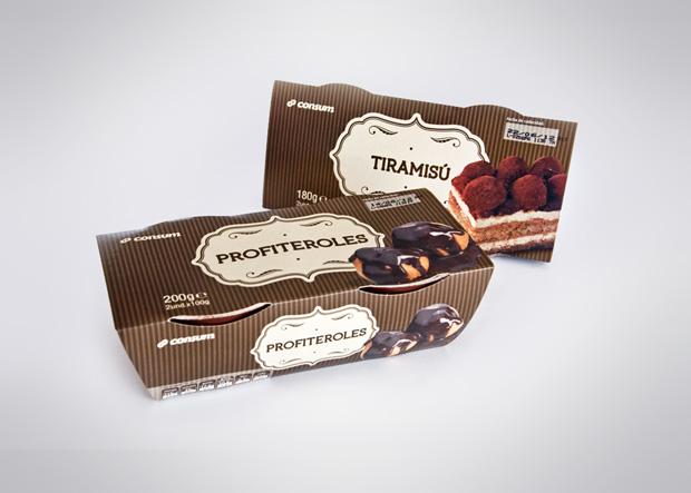 packaging o envase postre tiramisu profiteroles supermercado consum diseno Duplo Comunicacio Grafica