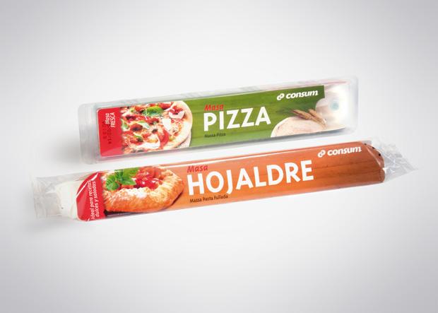 Packaging o envase masa pizza y hojaldre supermercado CONSUM, diseño Duplo comunicacio grafica