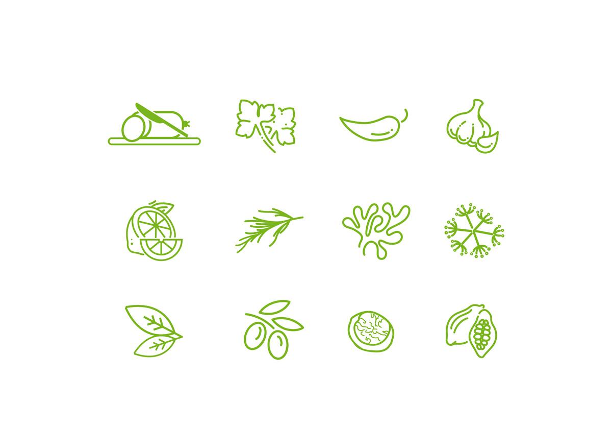 ilustracion matequilla con sabores patri hierbas, ajo, perejil, trufa, guindilla