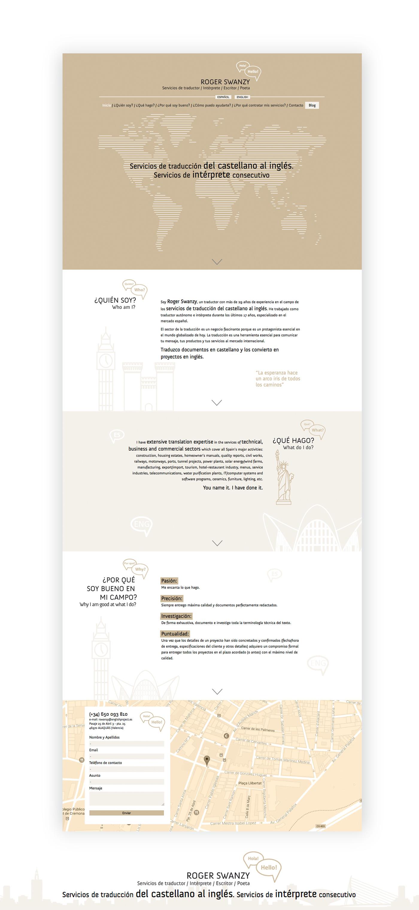 landing page web responsive ROGER SWANZY Servicios de traductor / Intérprete