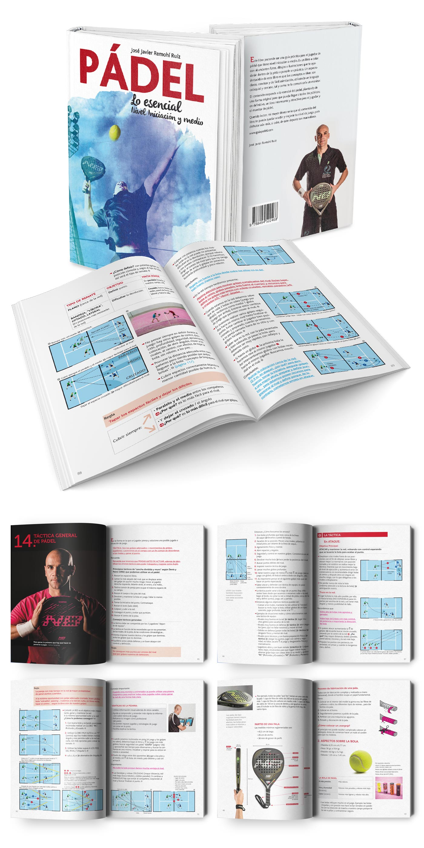 Diseño y maquetación editorial libro de pádel
